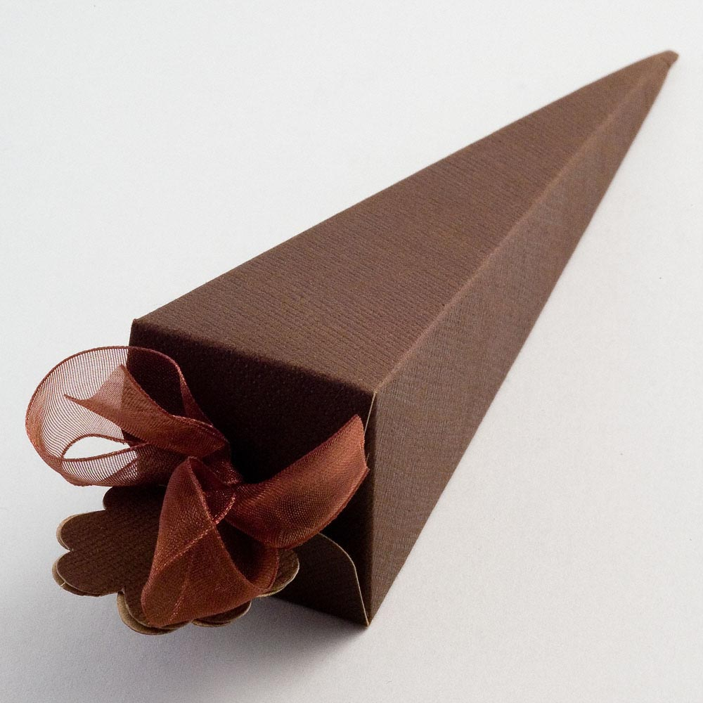 Brown Silk Cone Favour Box