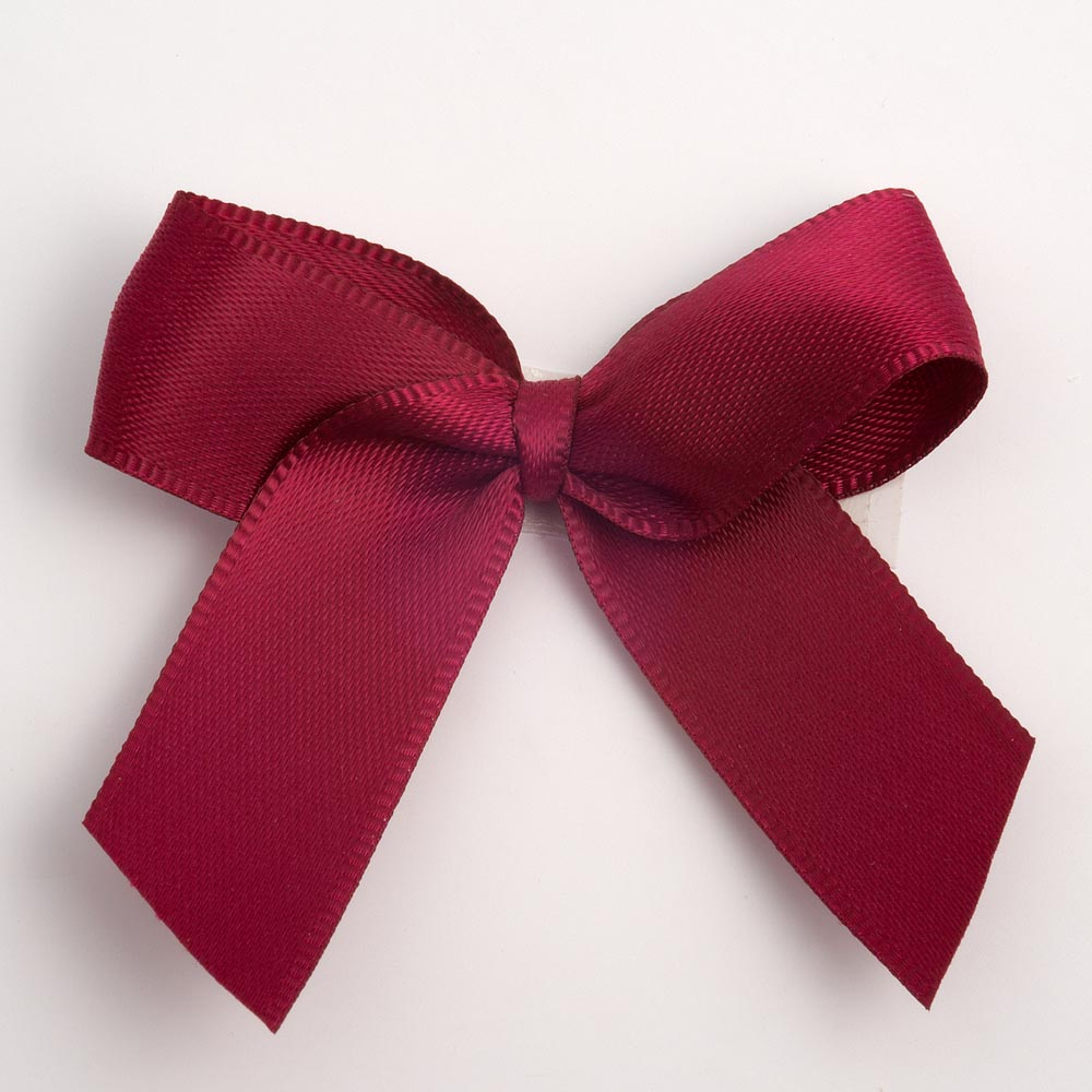 Burgundy Satin Bows 12 Pack