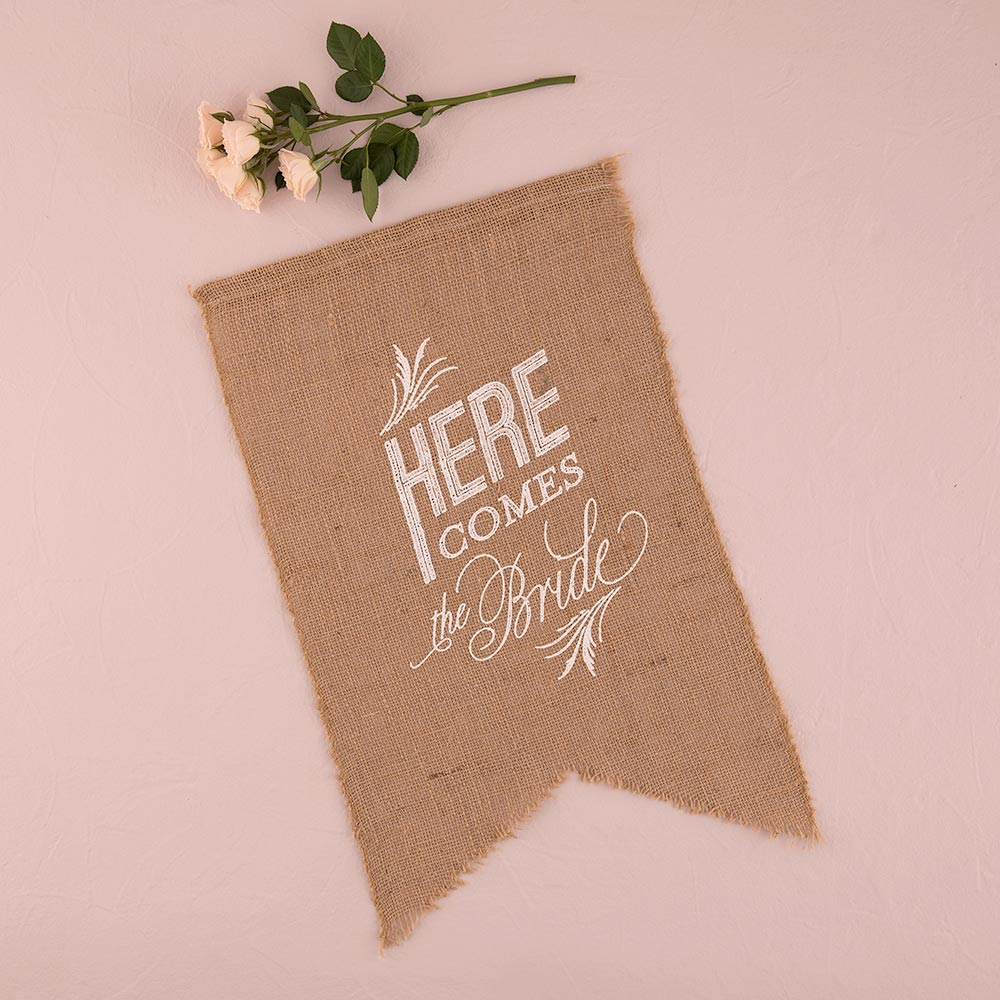 Burlap 'Here Comes The Bride' White Sign