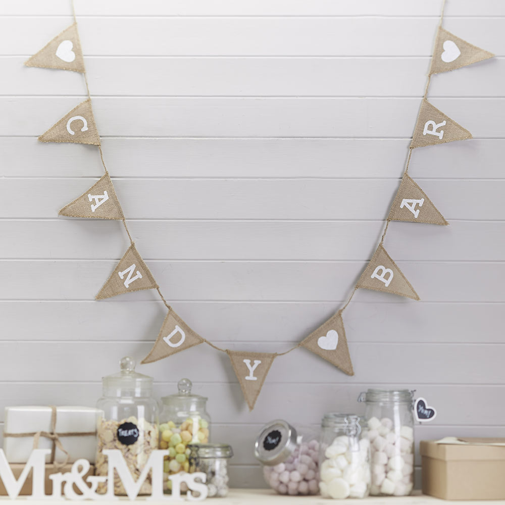 Candy Bar Hessian Burlap Bunting