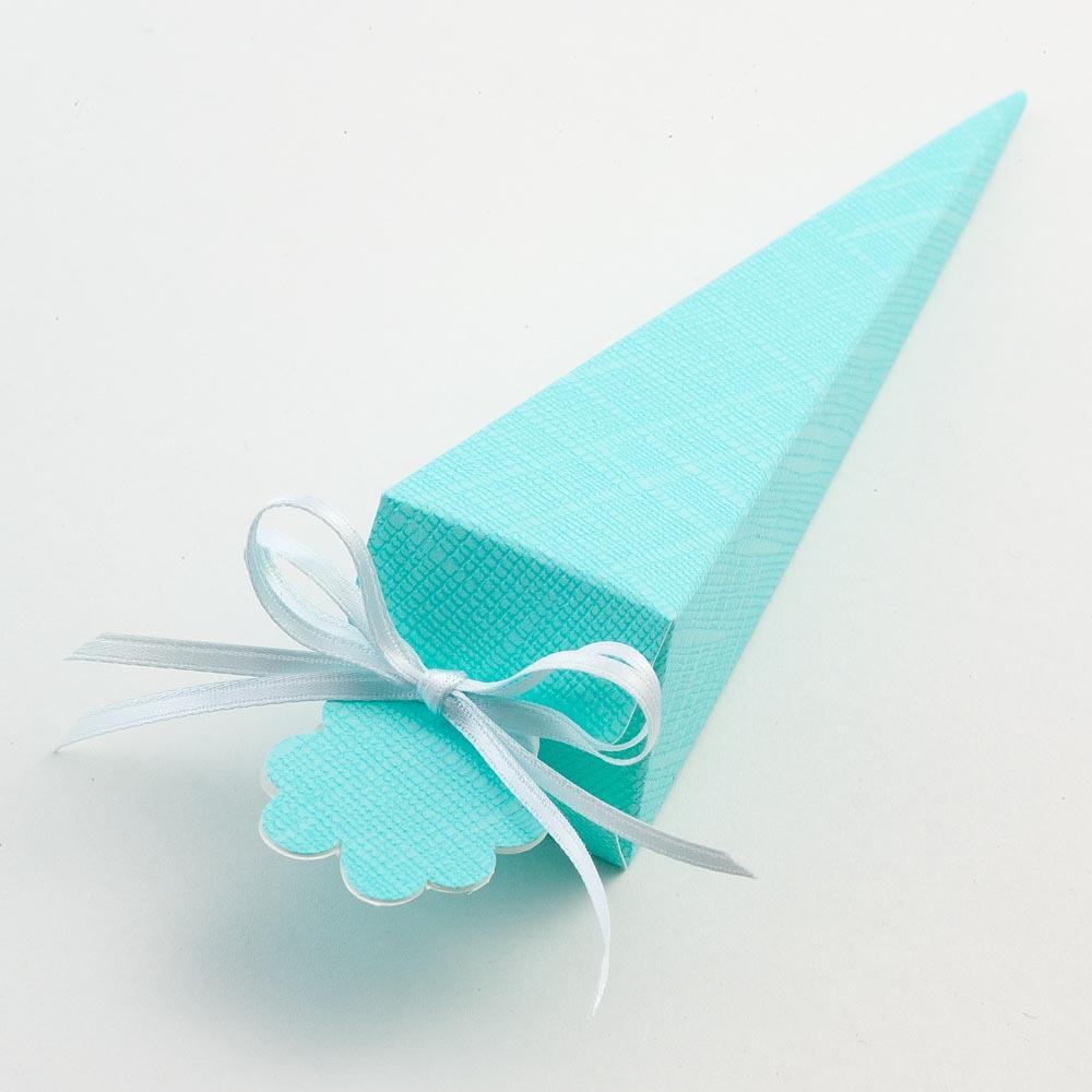 Celeste Blue Silk Cone Favour Box