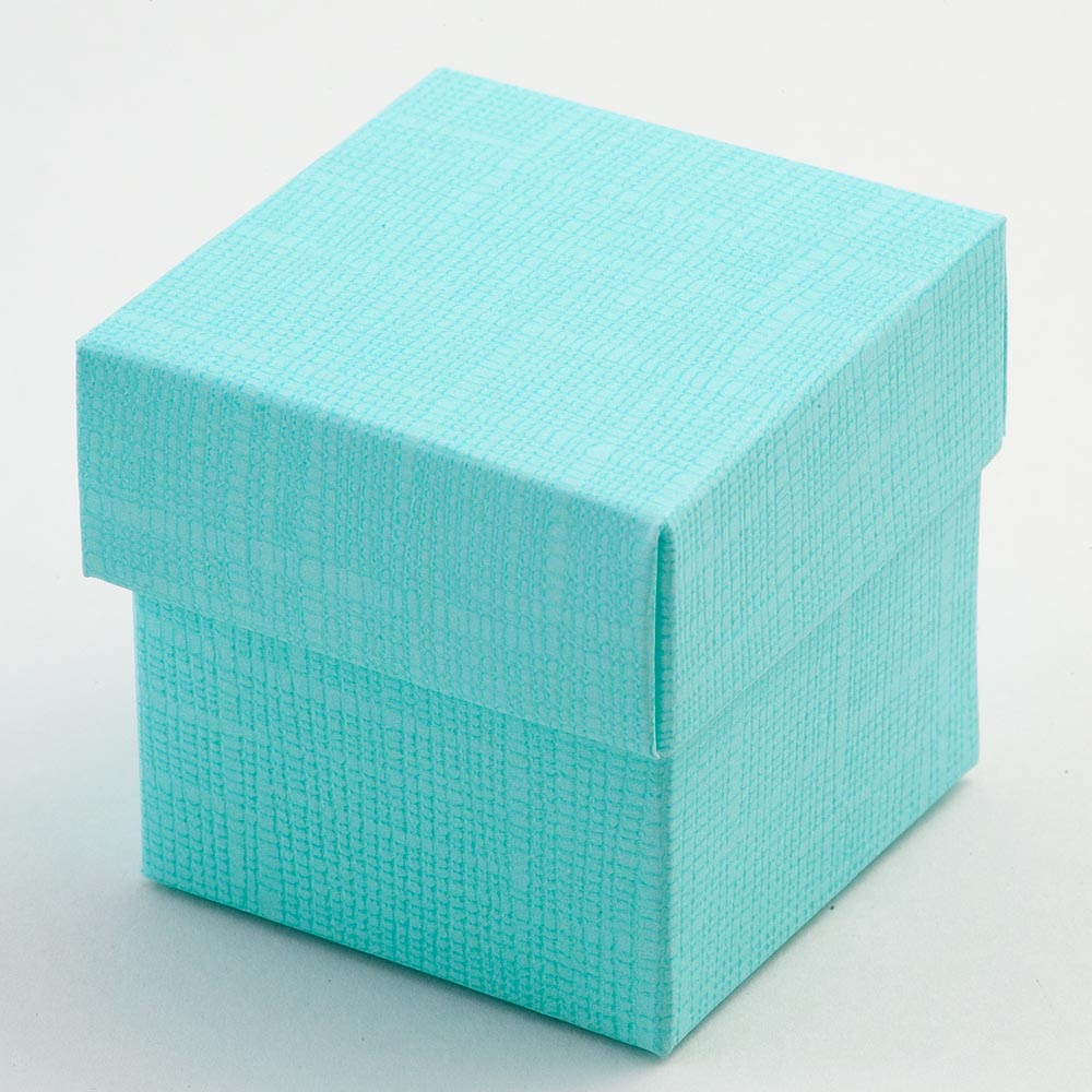 Celeste Blue Silk Square Favour Box with Lid
