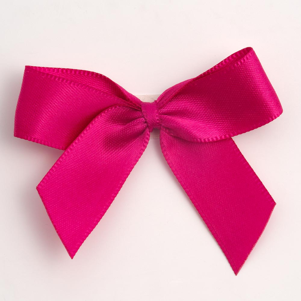 Cerise Pink Satin Bows 12 Pack