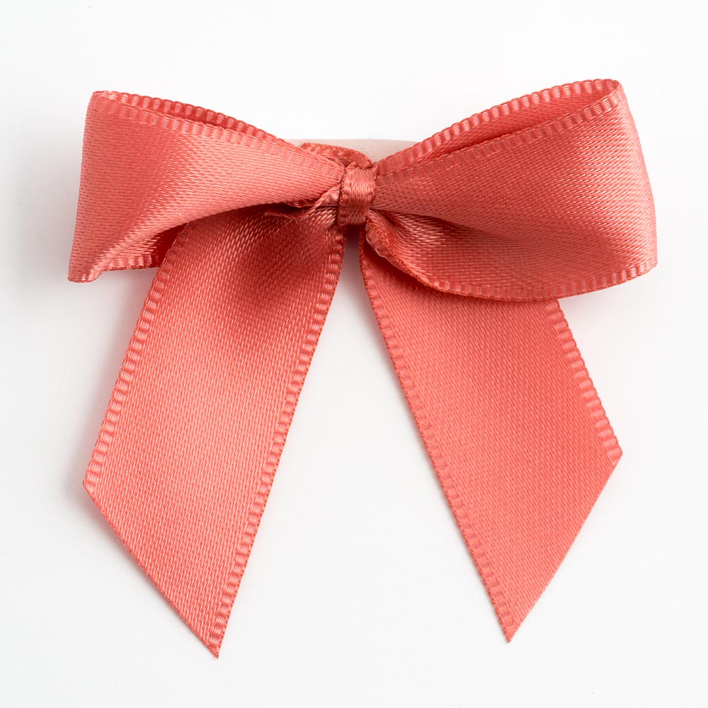 Coral Pink Satin Bows 12 Pack