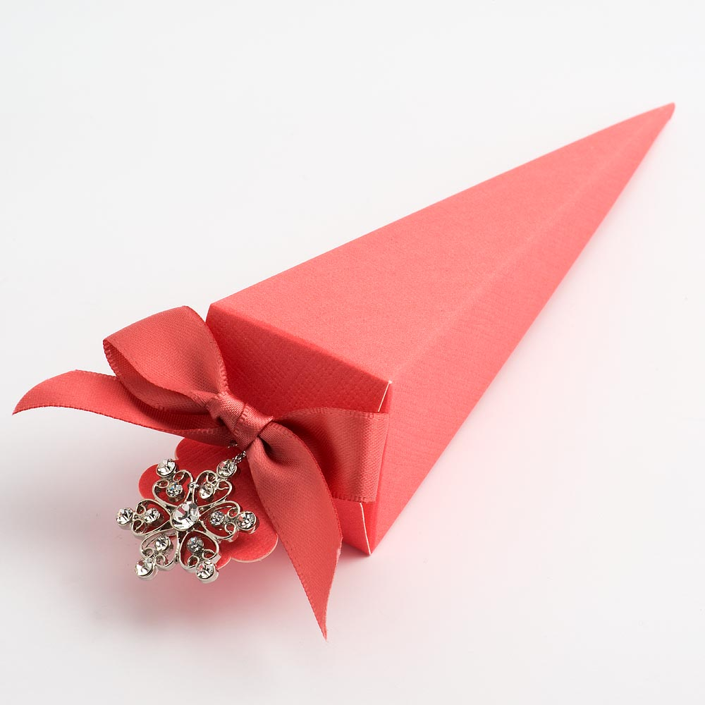 Coral Pink Silk Cone Favour Box