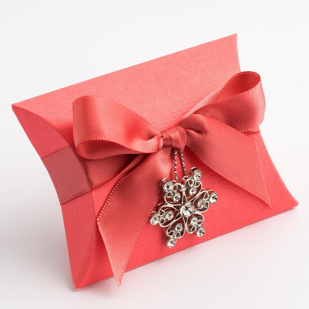 Coral Pink Silk Pillow Favour Box