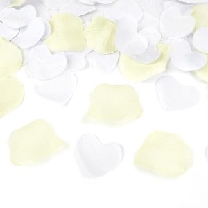 Cream Rose Petal and White Hearts Confetti Cannon