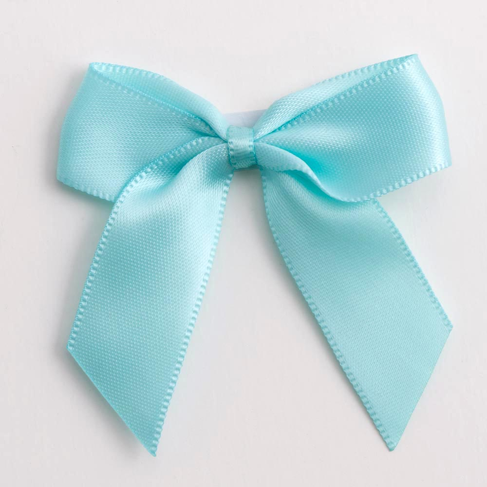 Duck Egg Blue Satin Bows 12 Pack