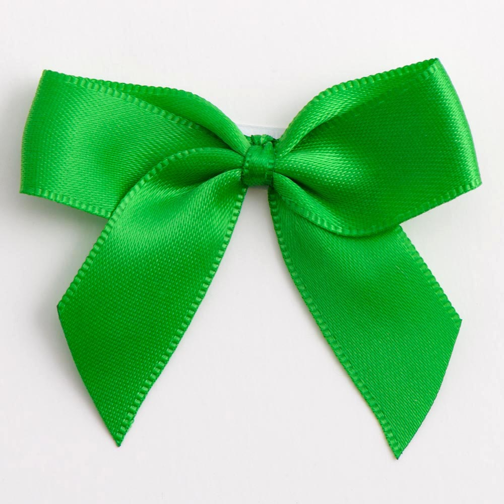 Emerald Satin Bows 12 Pack