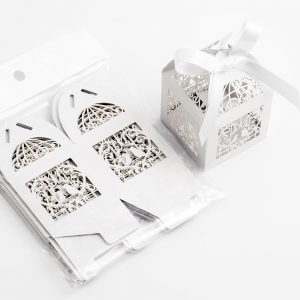 Filigree Bird Cage Favour Box - Pearlised White