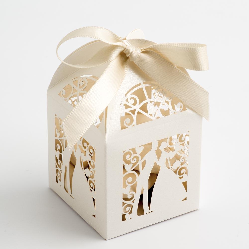Filigree Bride & Groom Favour Box - Pearlised Ivory