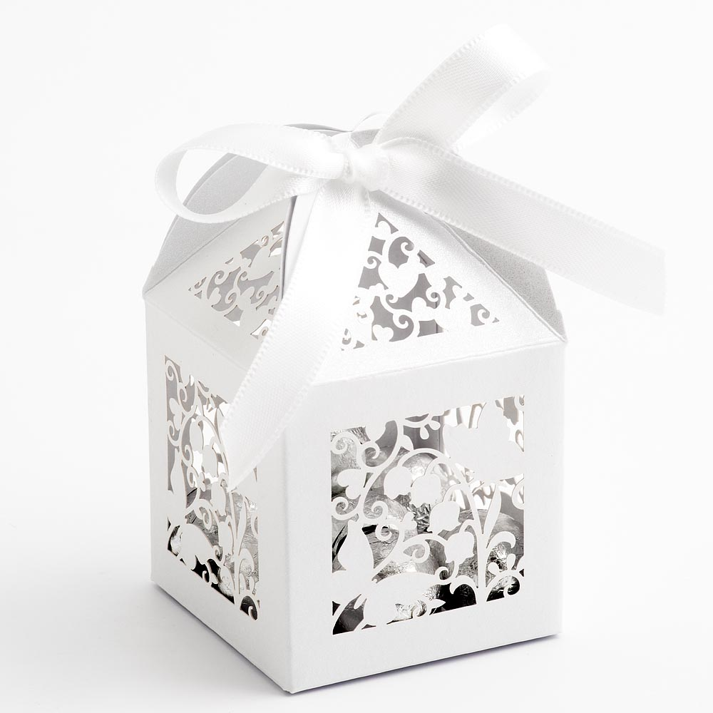 Filigree Butterfly Favour Box - Pearlised White