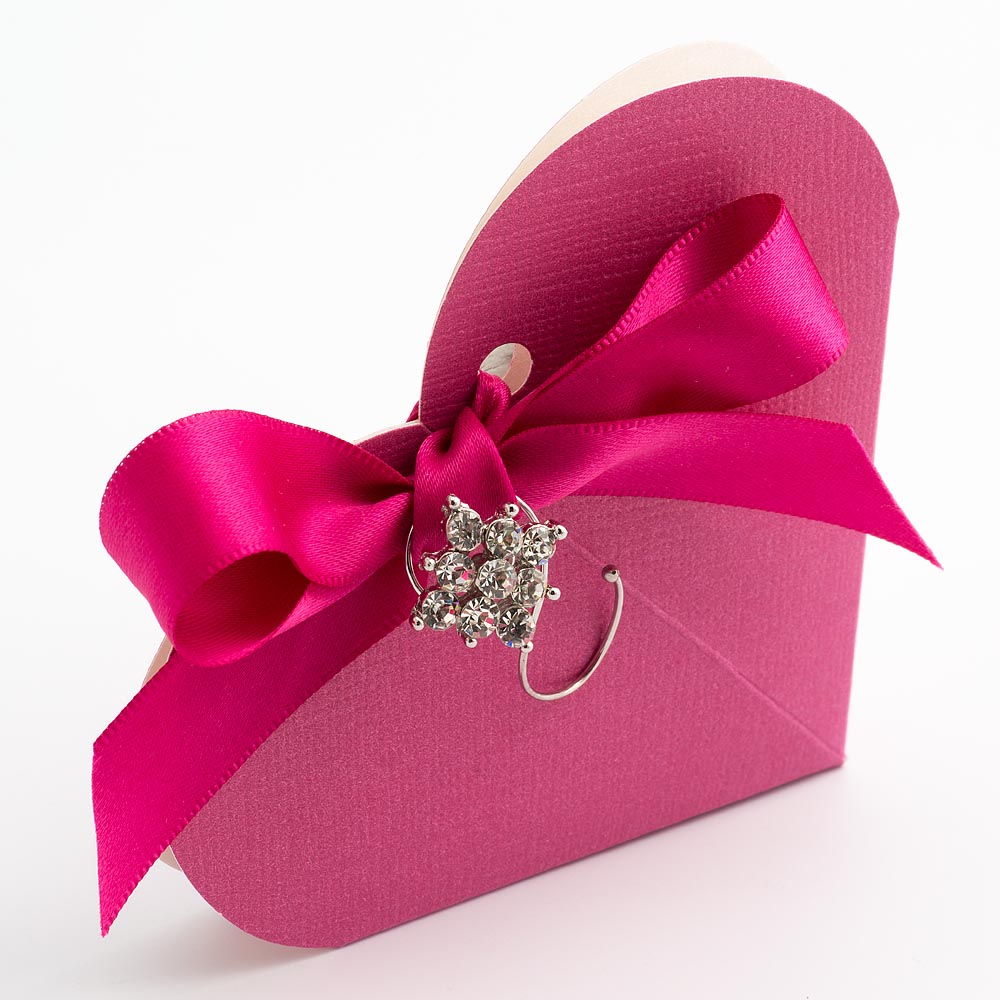 Fuchsia Pink Silk Heart Favour Box