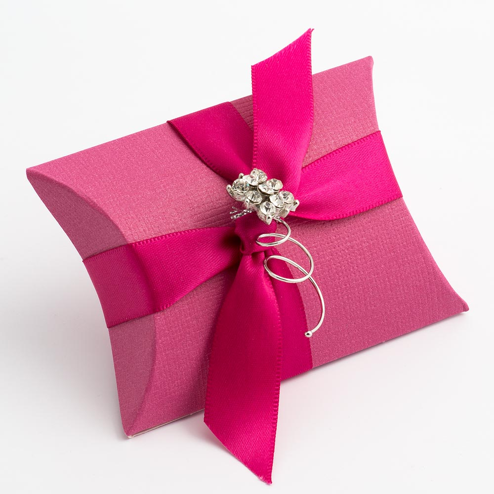 Fuchsia Pink Silk Pillow Favour Box