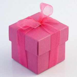 Fuchsia Pink Silk Square Favour Box with Lid
