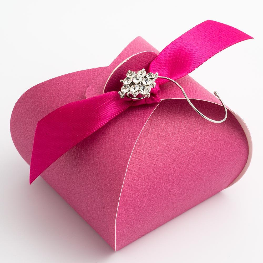 Fuchsia Pink Silk Tortina Favour Box
