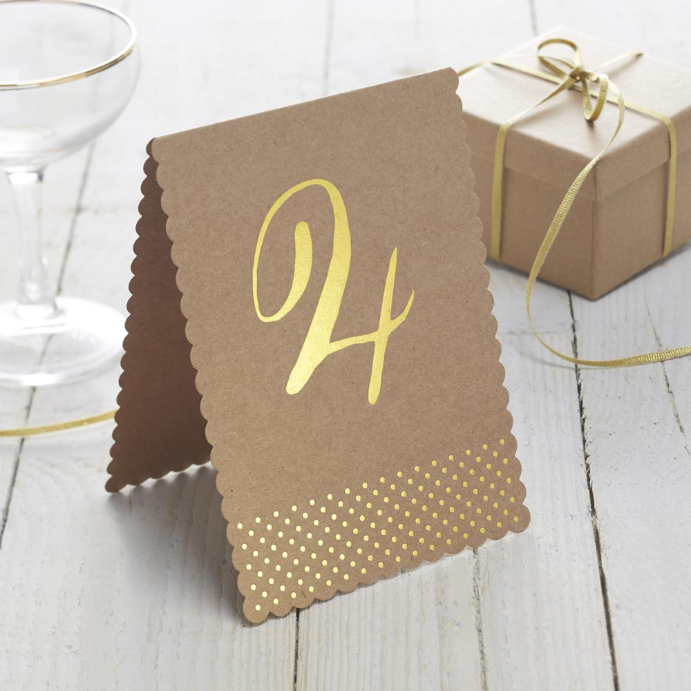 Gold Foiled Kraft Table Numbers 1-12