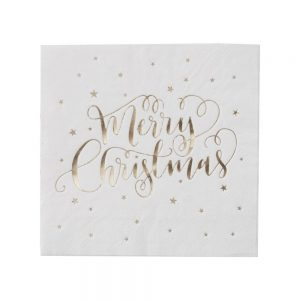 Gold Foiled Merry Christmas Napkins