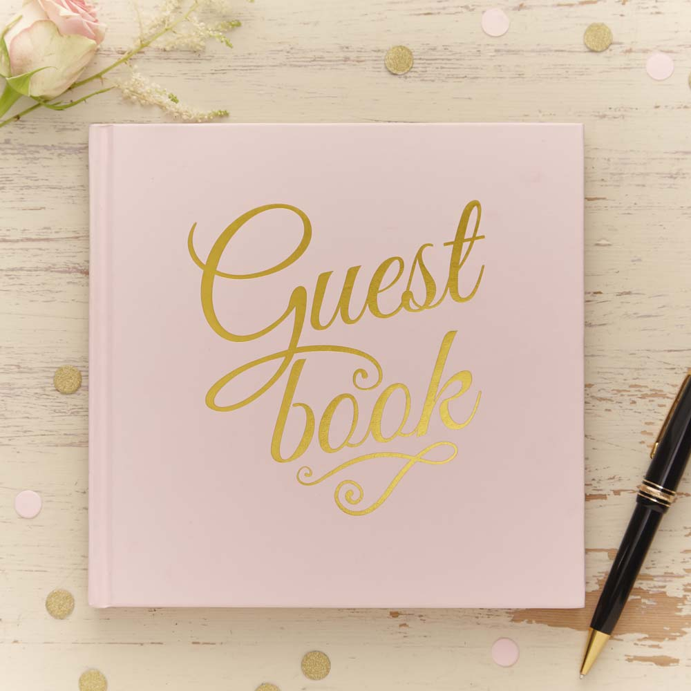 Gold Foiled Pink Guest Book