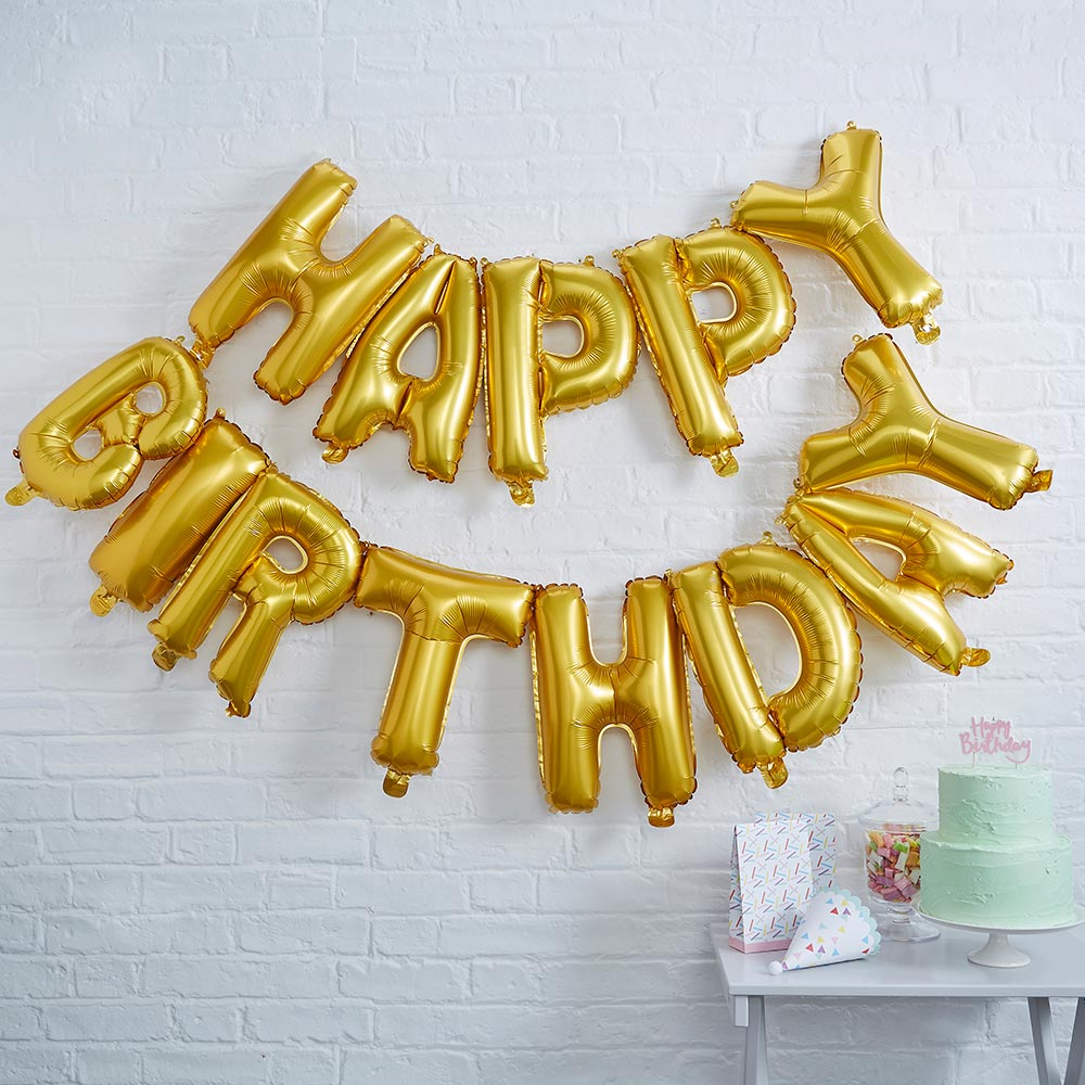 Gold Happy Birthday Foil Balloon Bunting