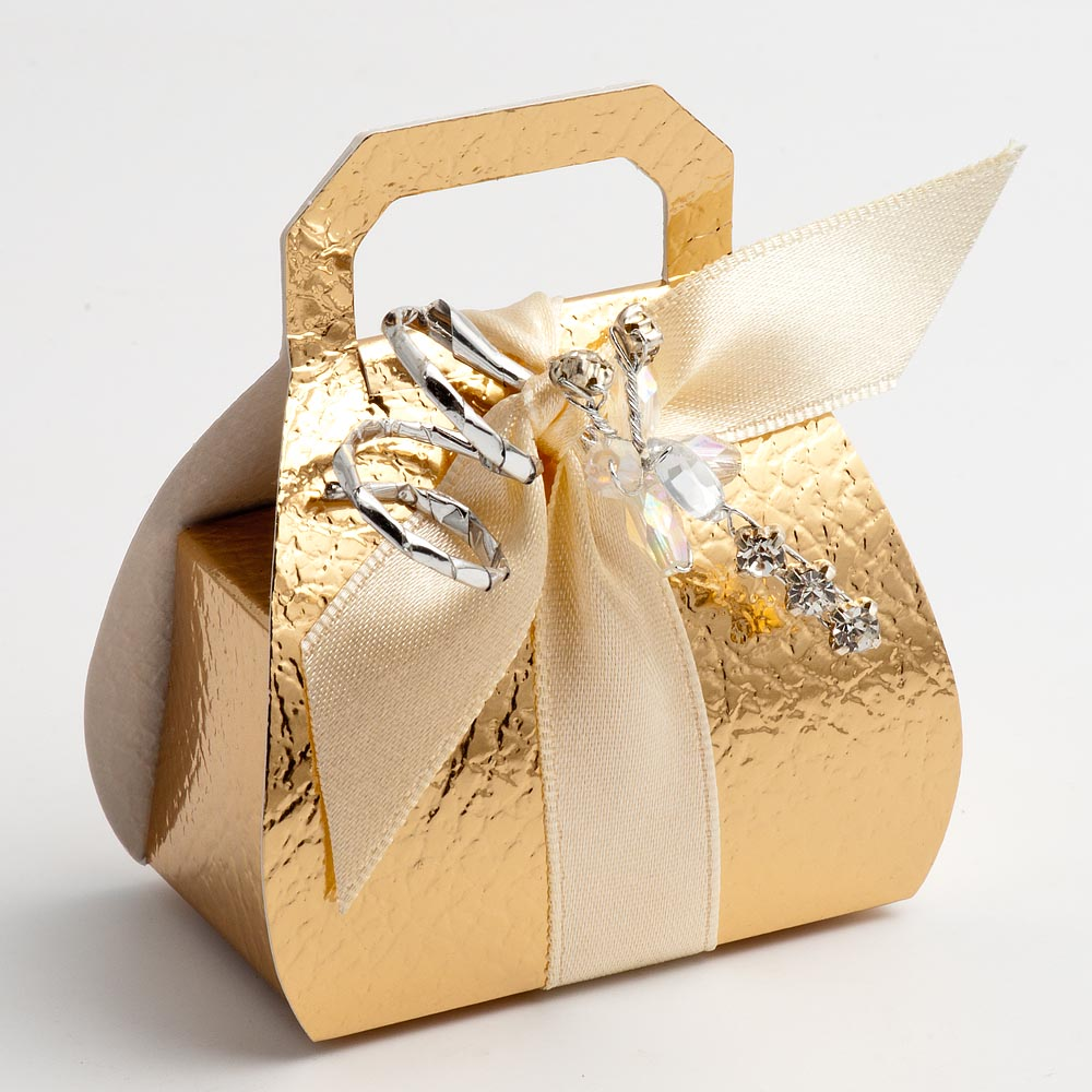 Gold Pelle Handbag Favour Box