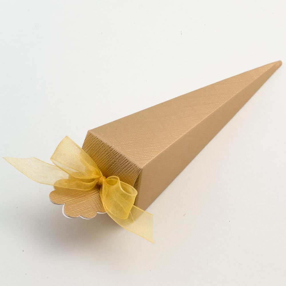 Gold Silk Cone Favour Box