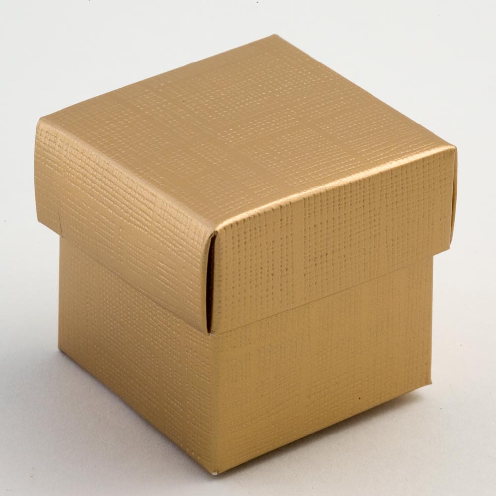 Gold Silk Square Favour Box with Lid