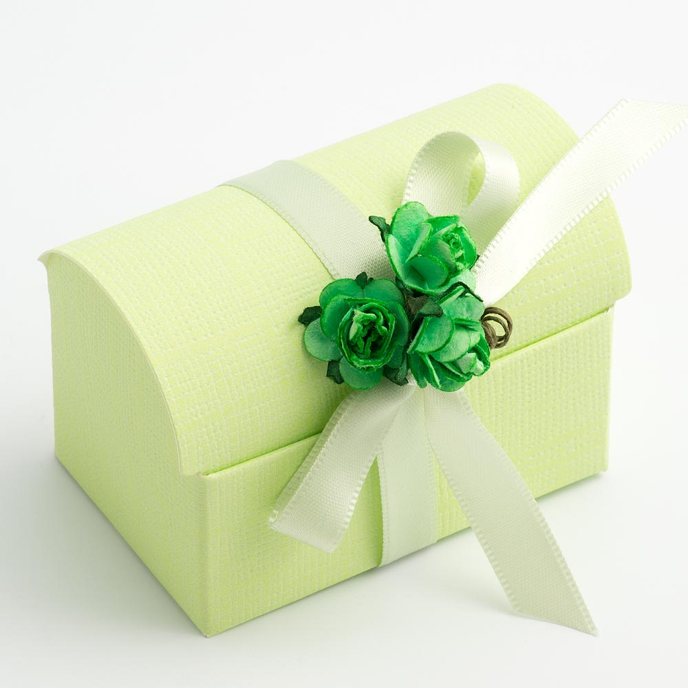 Green Silk Cofanetto Favour Box