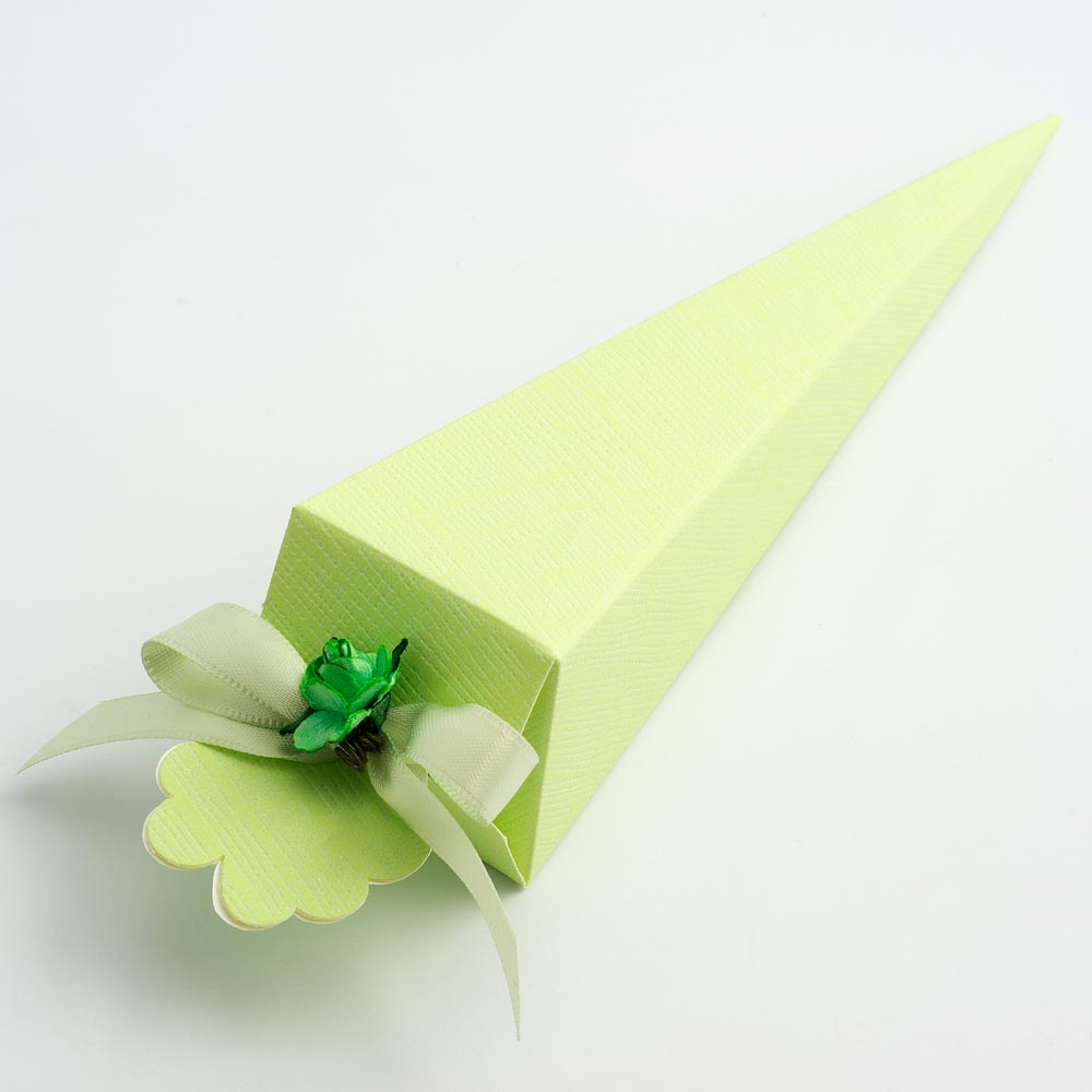 Green Silk Cone Favour Box