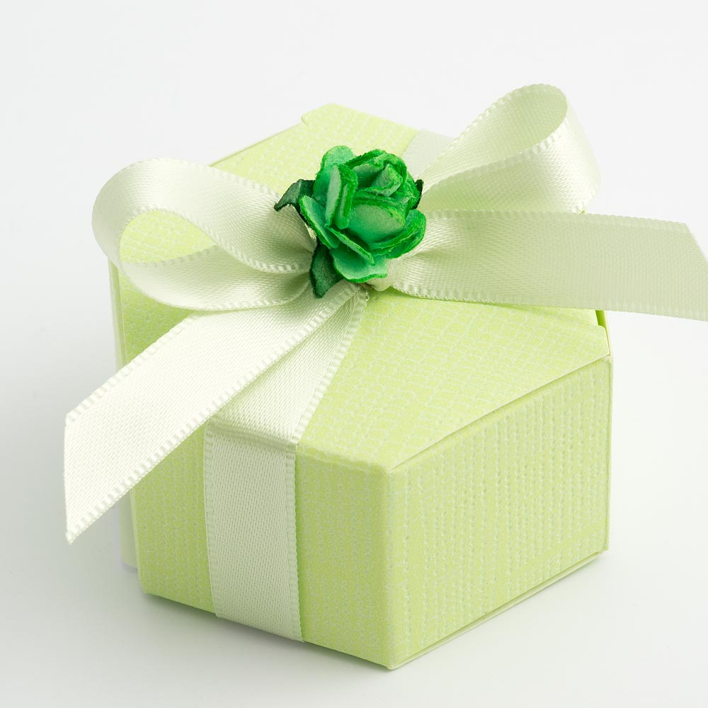 Green Silk Hexagonal Favour Box