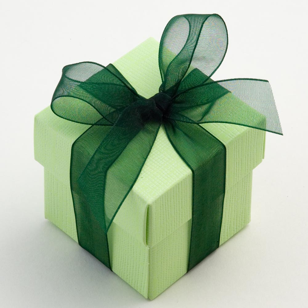 Green Silk Square Favour Box with Lid