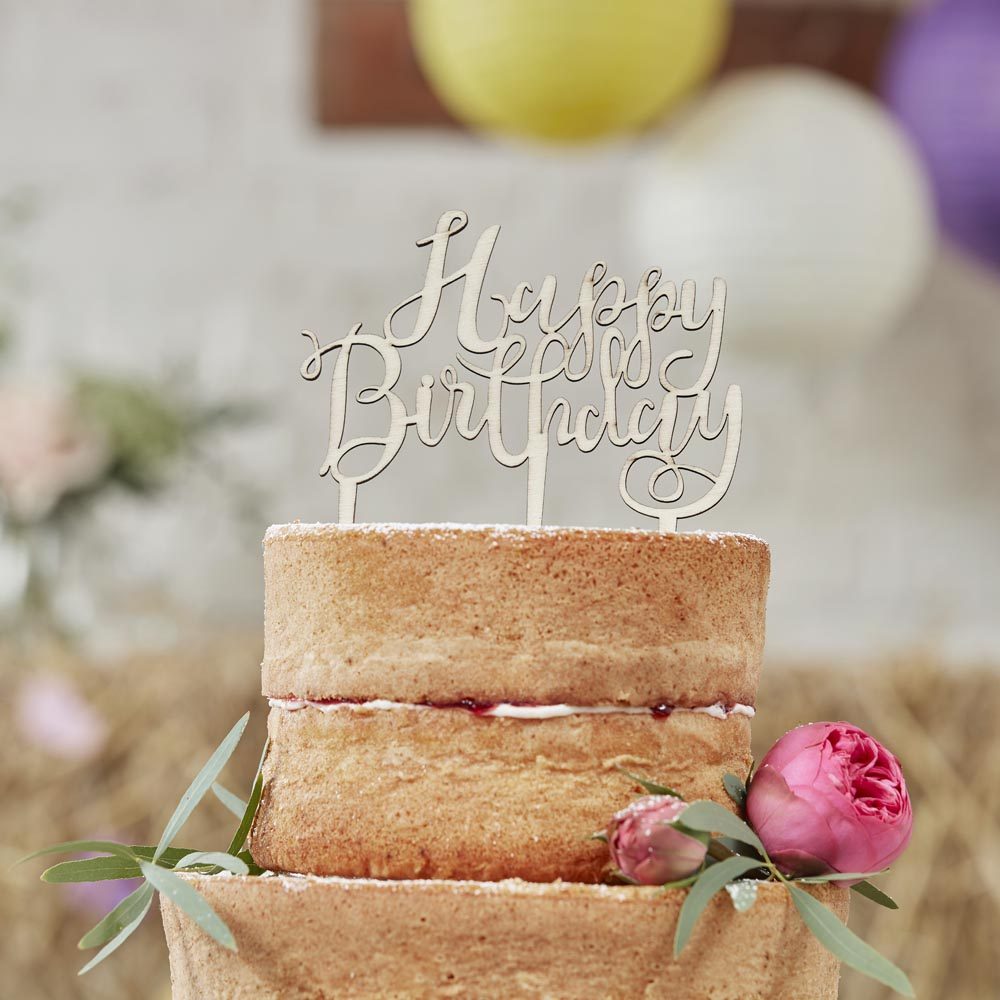 Happy Birthday Wooden Cake Topper