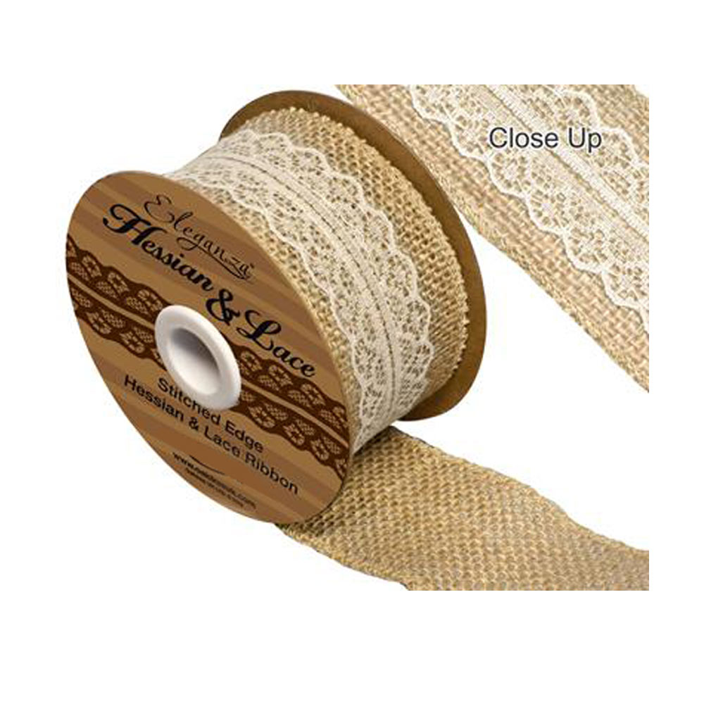 Hessian & Ivory Lace Ribbon 50mm x 5yards