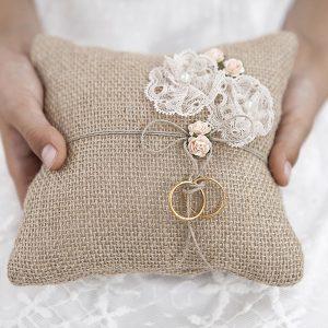 Hessian Ring Bearer Pillow