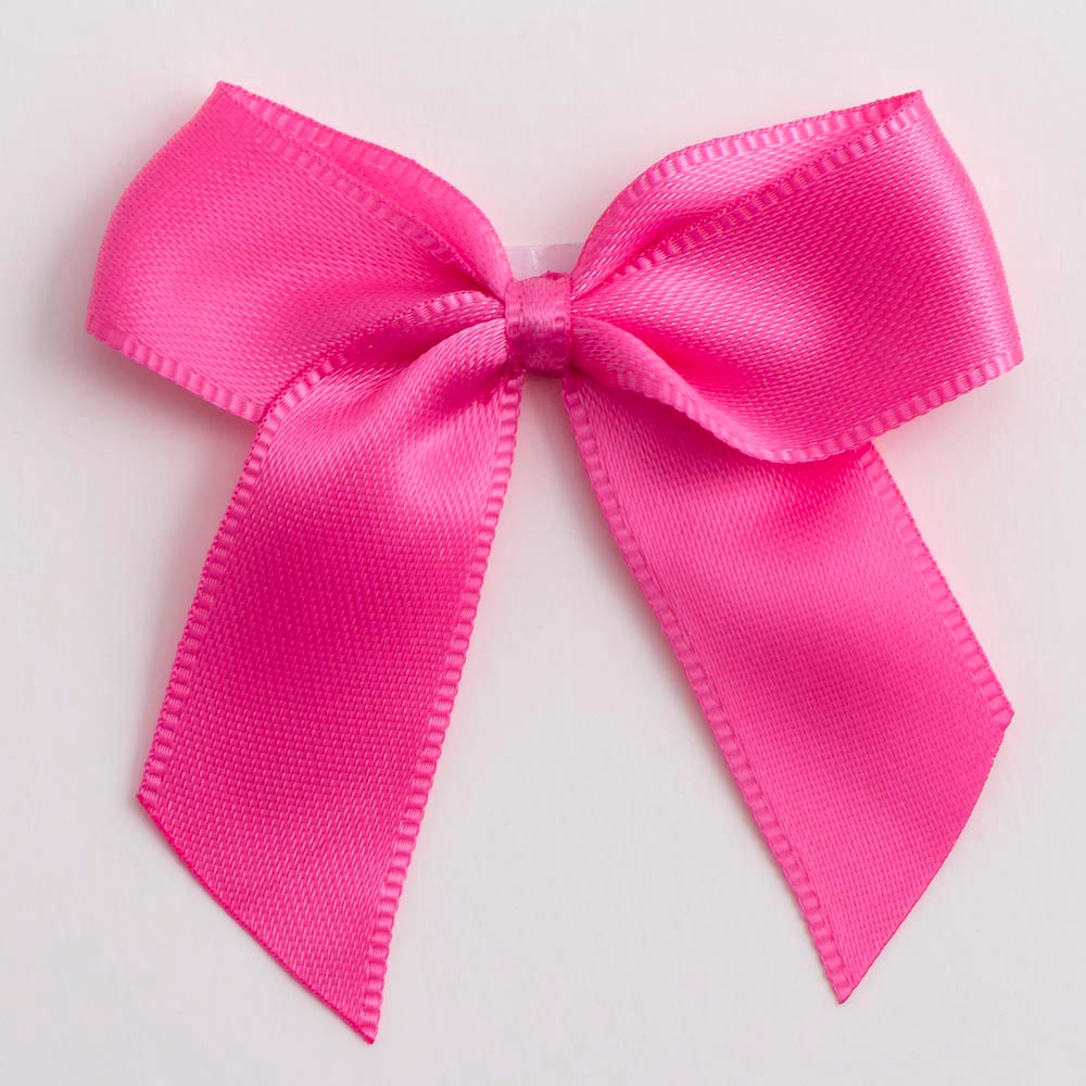 Hot Pink Satin Bows 12 Pack