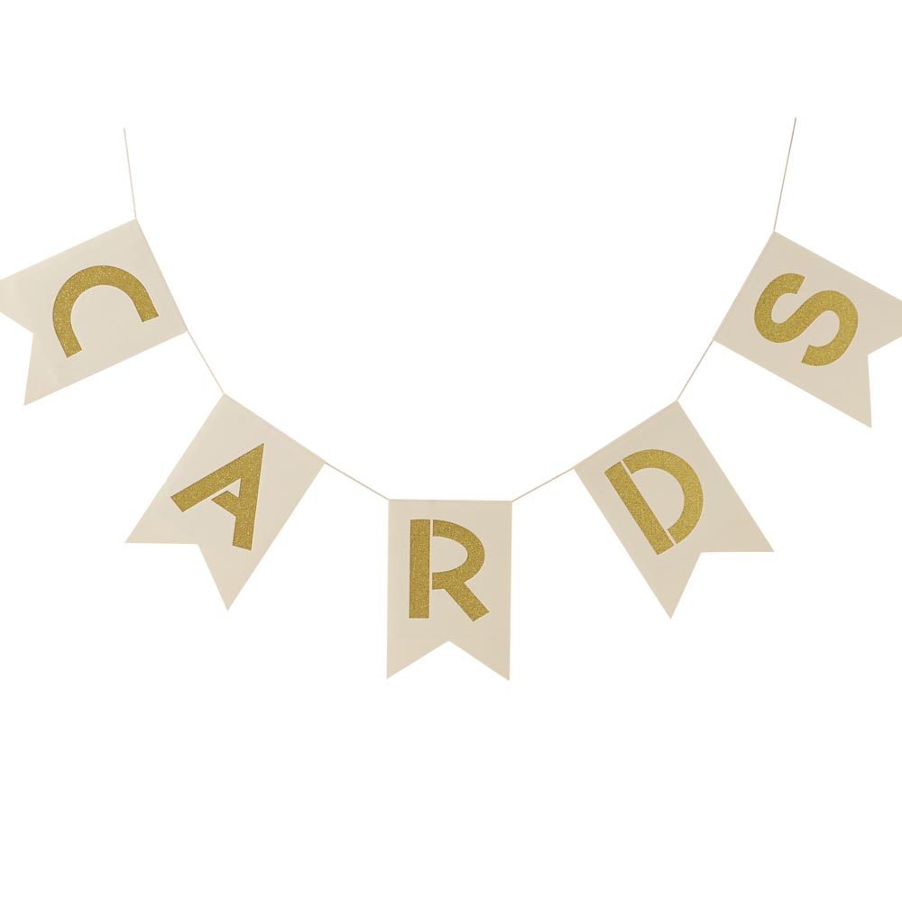 Ivory & Gold Cards Wedding Bunting