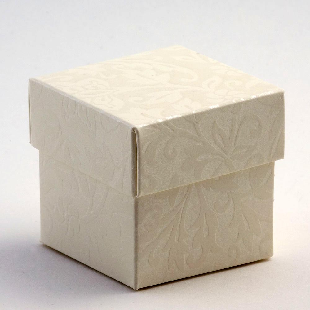 Ivory Diamante Square Favour Box with Lid