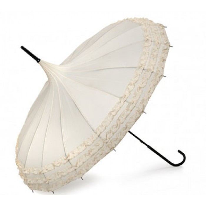Ivory Frilled Pagoda Umbrellas