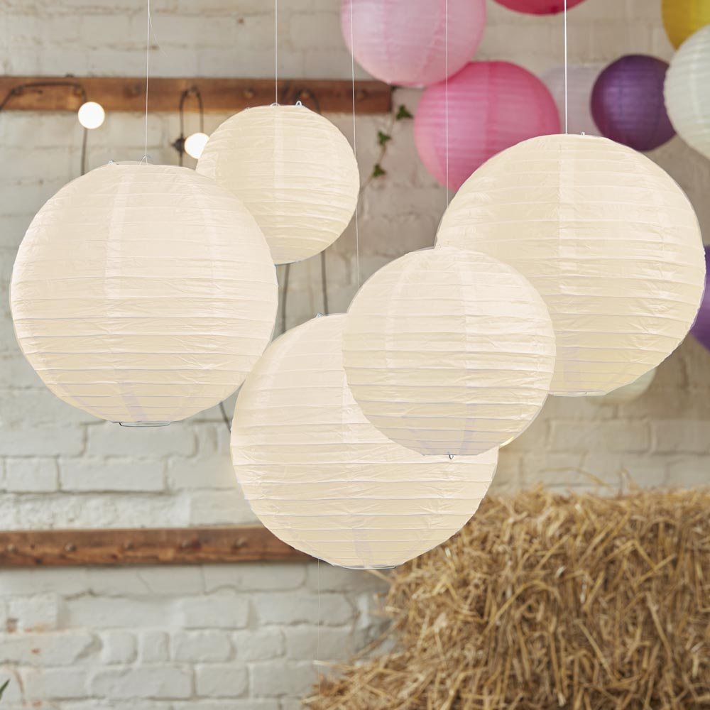 Ivory Paper Lantern Decorations