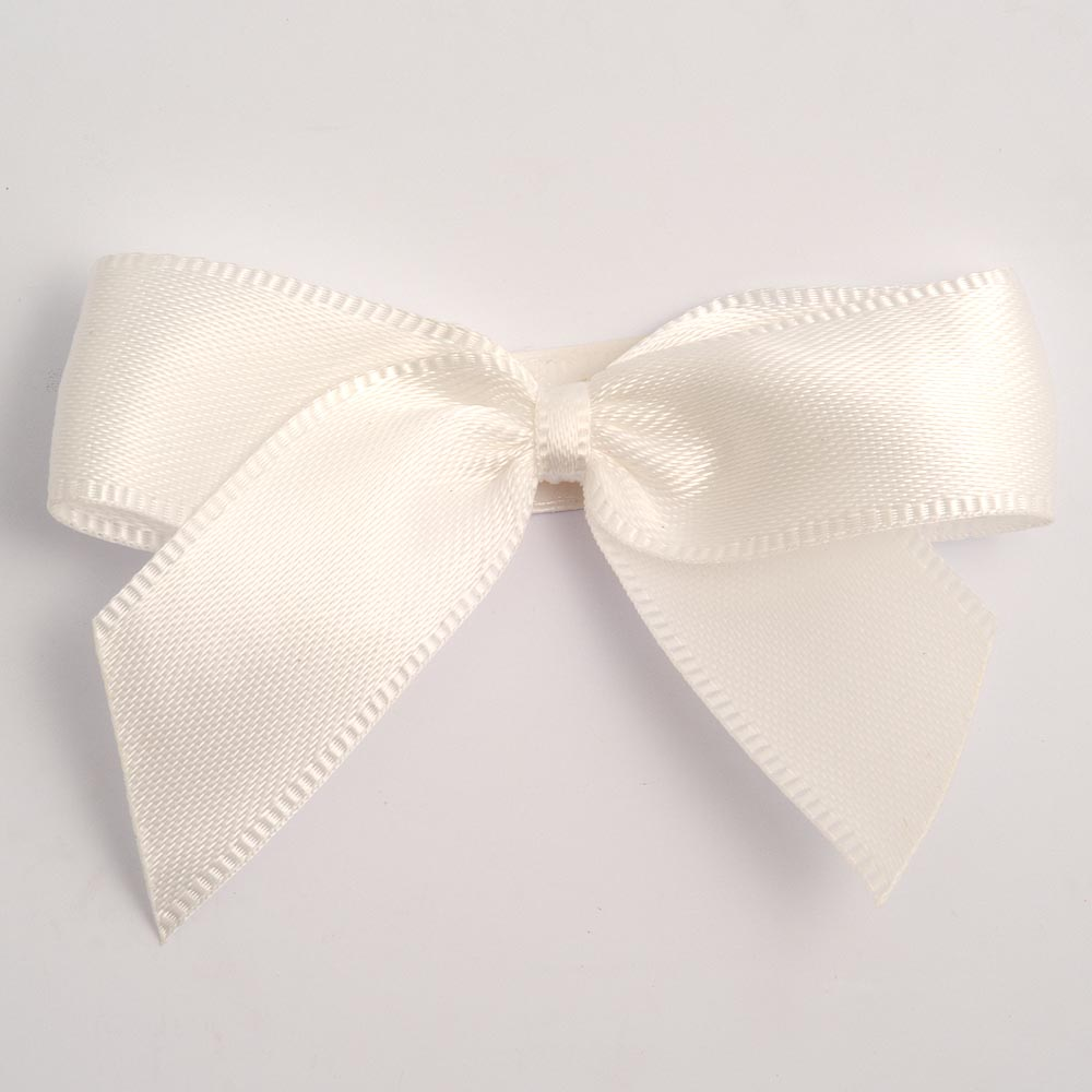 Ivory Satin Bows 12 Pack