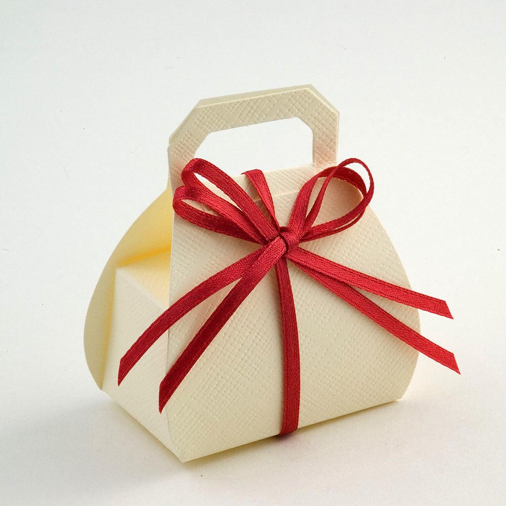 Ivory Silk Handbag Favour Box