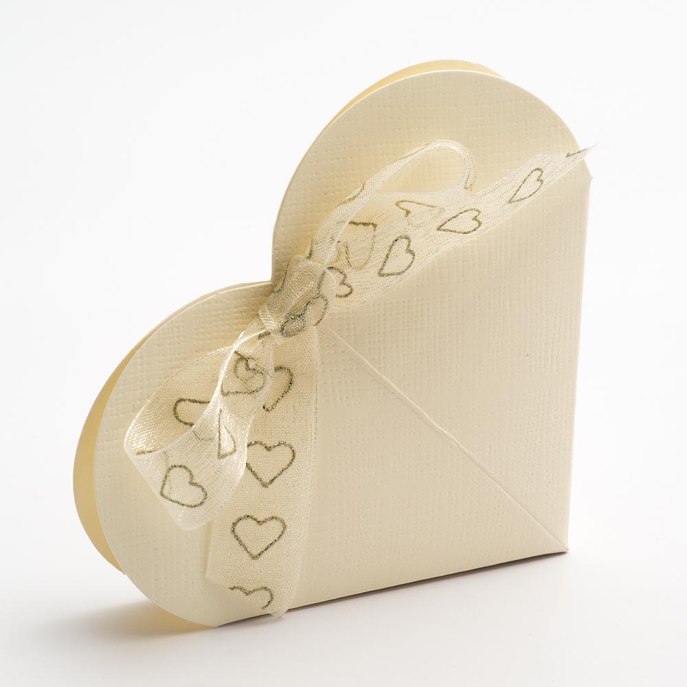 Ivory Silk Heart Favour Box