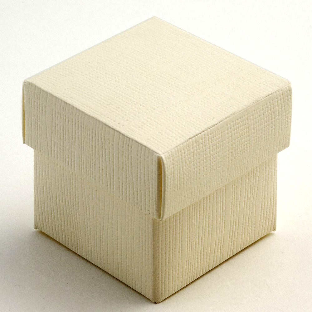 Ivory Silk Square Favour Box with Lid 50MM