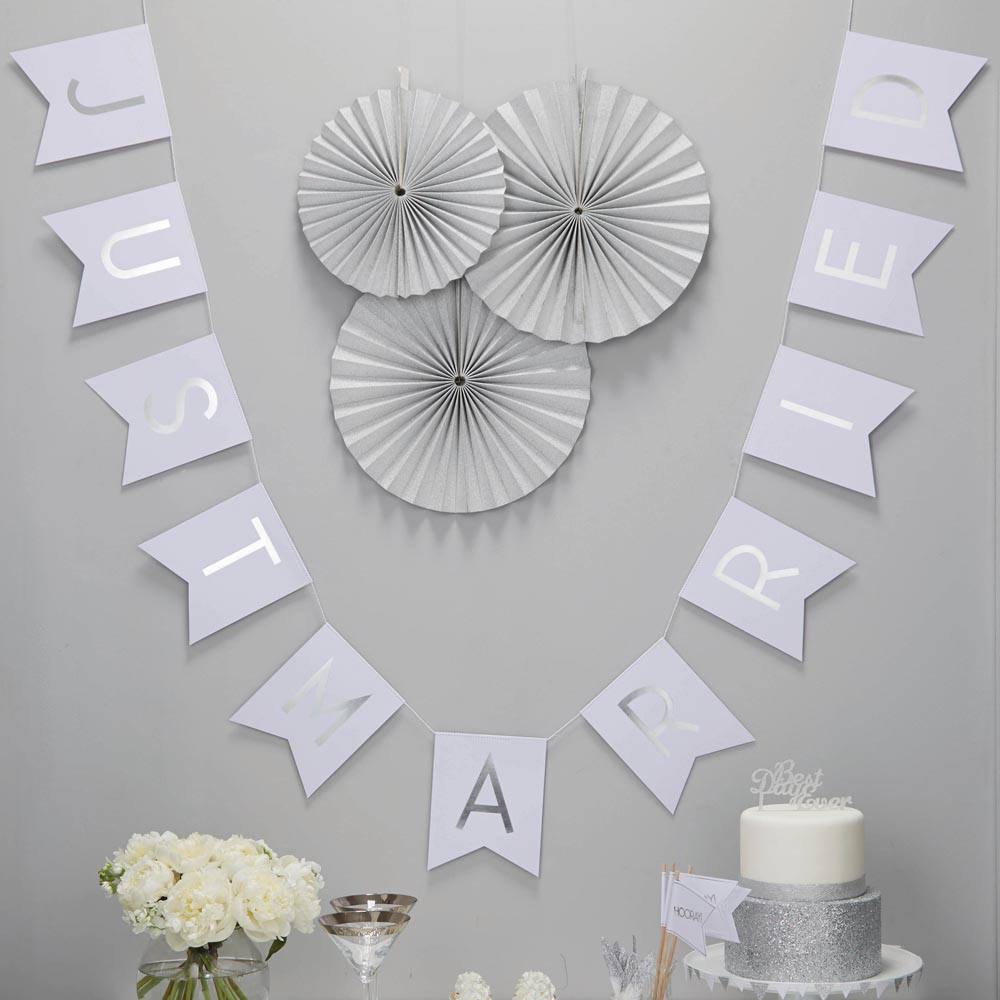 Just Married White & Silver Foiled Bunting