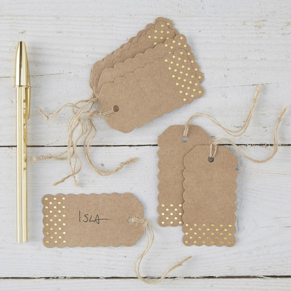 Kraft & Gold Luggage Tags