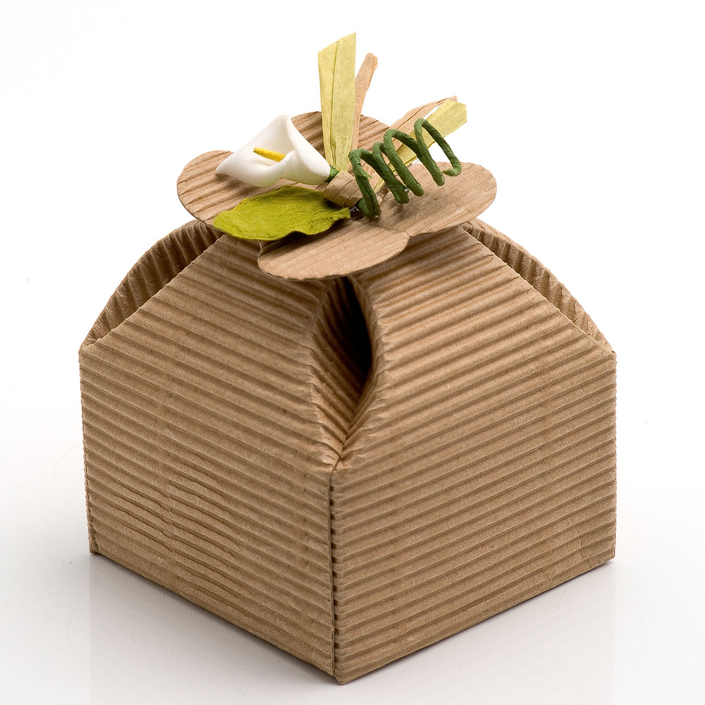 Kraft Corrugated Four Leaf Clover Favour Box