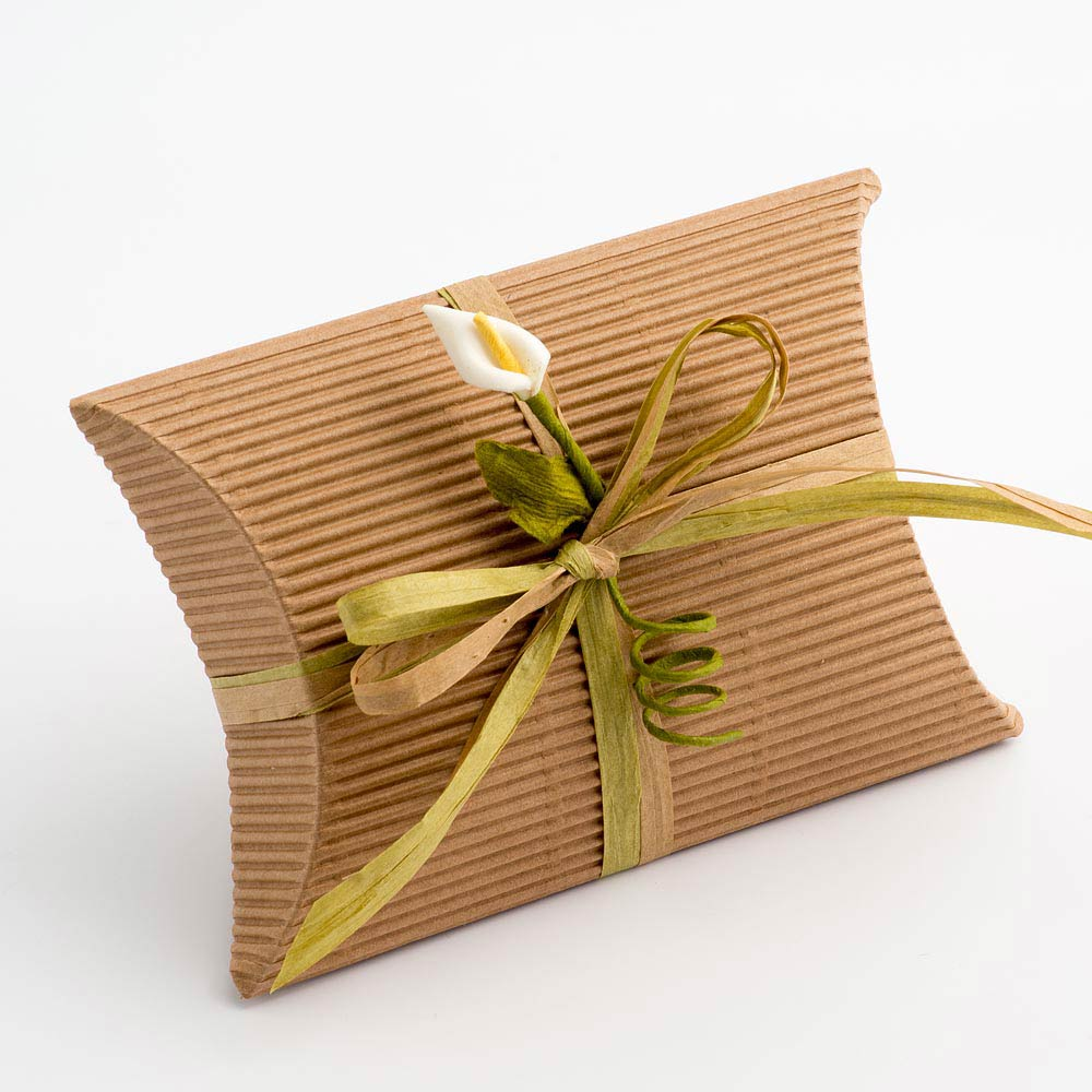 Kraft Corrugated Pillow Favour Box 85x85x30mm