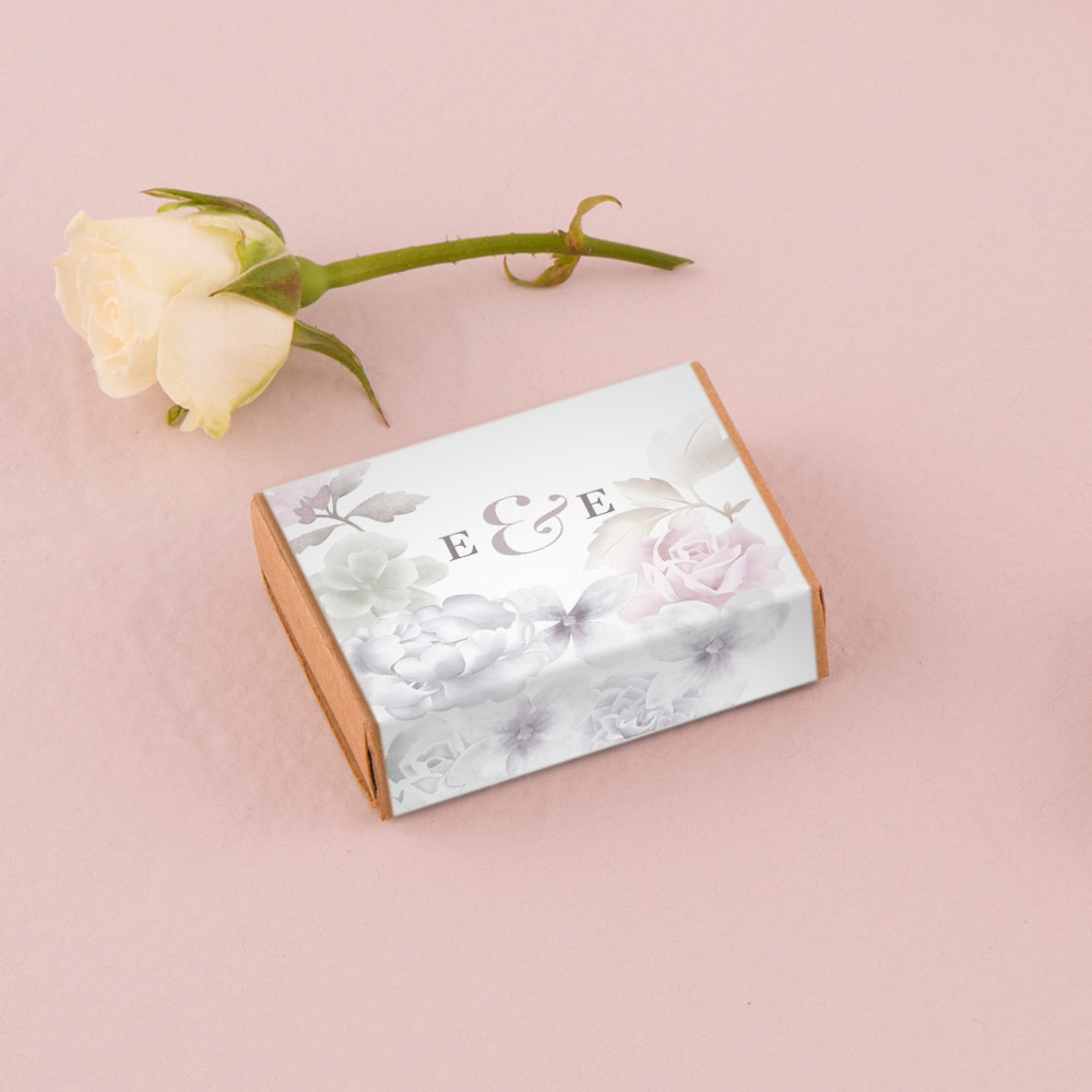 Kraft Matchbox Favour Box with Floral Personalised Wrap x 8