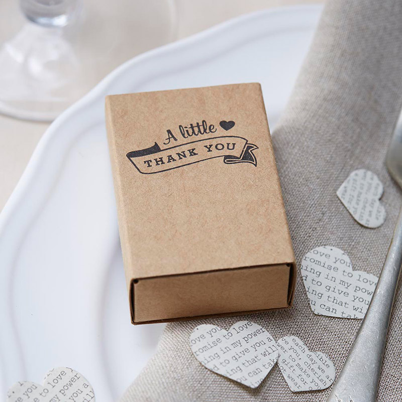 "Kraft Matchbox ""Thank You"" Favour Boxes"