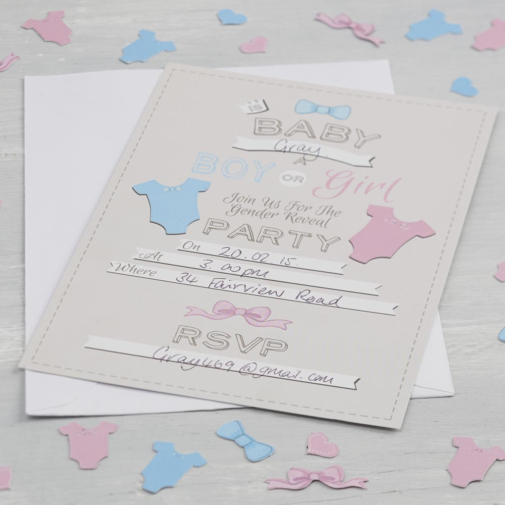 Lady or Mister Gender Reveal Invitations